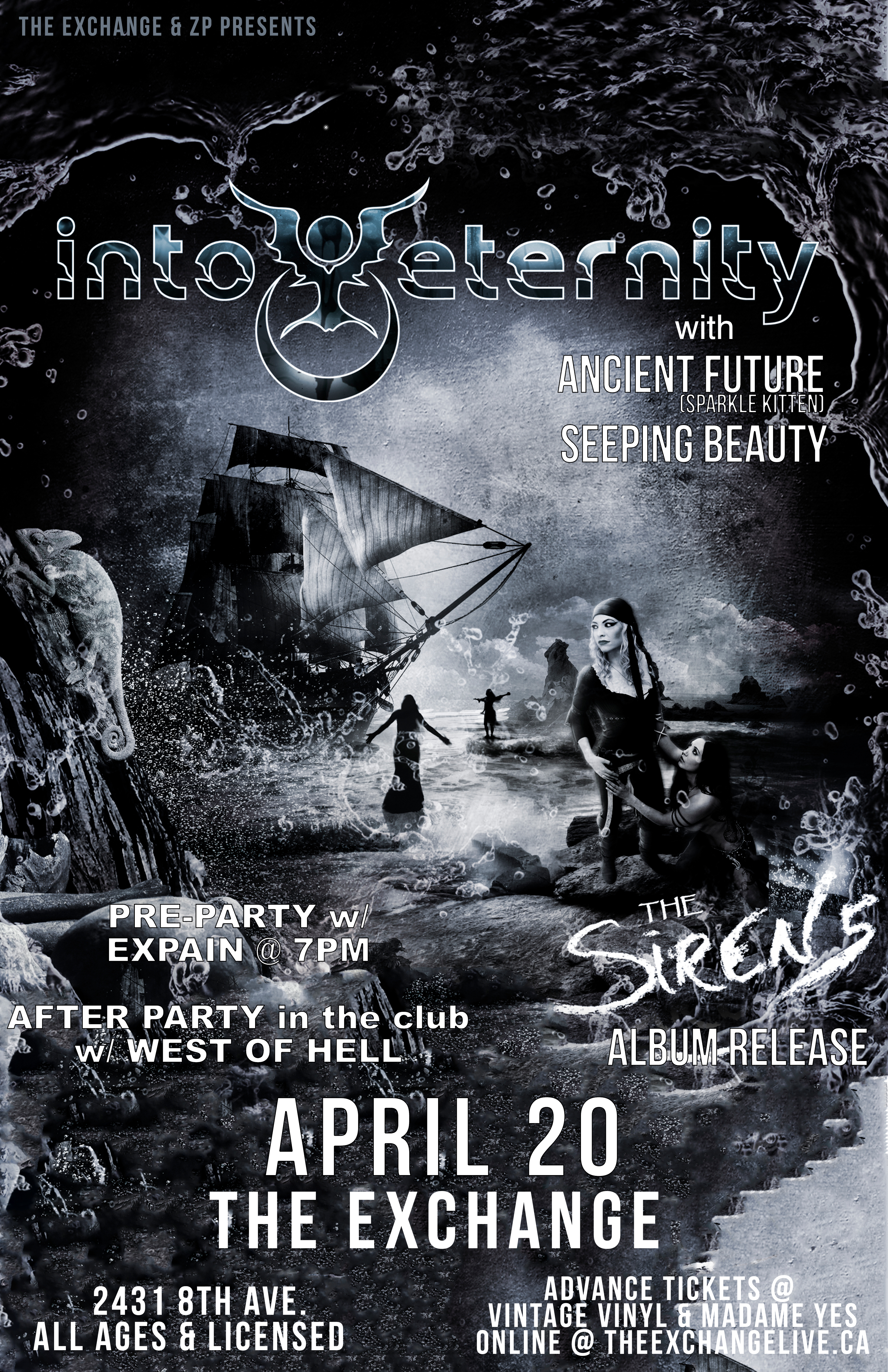 Into Eternity - The Sirens Album Release W/ Ancient Future, Seeping Beauty +Expain & West Of Hell - April 20