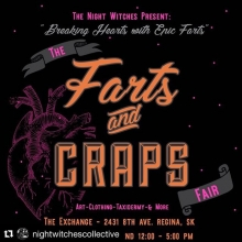 Friends! @nightwitchescollective has another Farts and Craps Fair coming at you on February 2nd from 12-5pm at The Exchange #yqr Mark your calendars 🙌 Full list of vendors TBA . . #yqrevents #fartsandcraps #shoplocal #supportlocalartists #Repost @night
