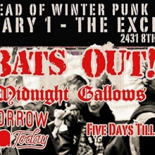 Saturday! Bats Out! @midnightgallows @tomorrowstartstodaysk @fivedaystillfriday.band advance tickets @vintagevinylsk or online at @theexchangelive #queencitypunk #seeyqr #yqrevents @brockprentice #batsout #yqrwd